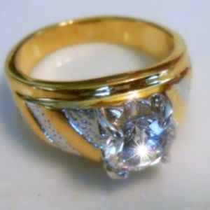 Other - White & Yellow Gold Plated Solitaire CZ Men's Ring